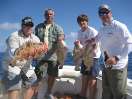 Hugh Groupers caught by a group of happy fishermen in Islamorada in the Florida Keys